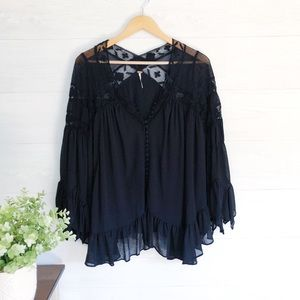 Free People Black Oversize Boho Lace Button Top